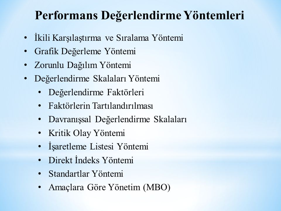 Performans Değerlendirme Yöntemleri