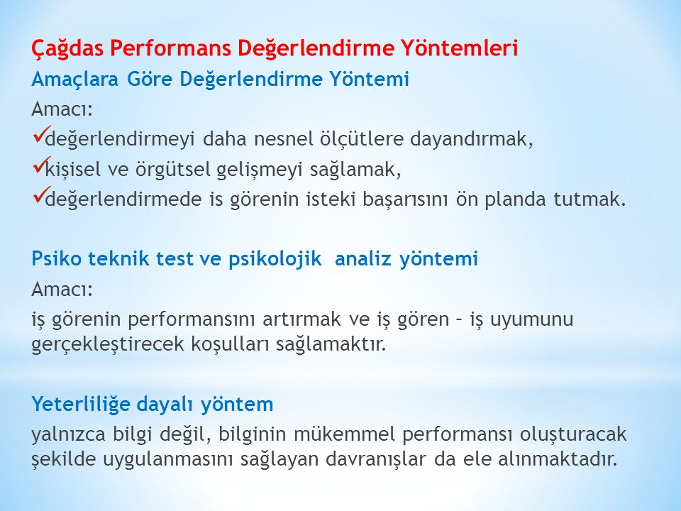 Çağdas Performans Değerlendirme Yöntemleri