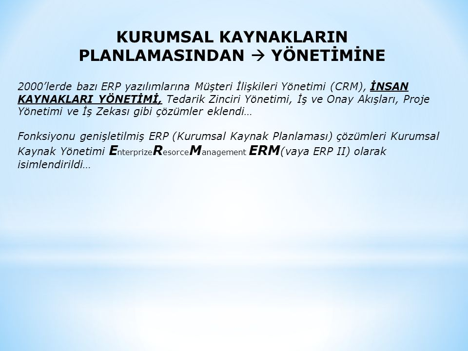 PLANLAMASINDAN  YÖNETİMİNE