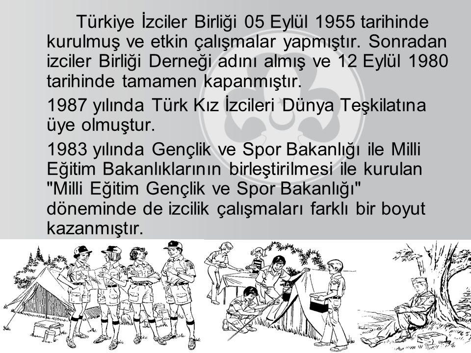 Türkiye İzciler Birliği 05 Eylül 1955 tarihinde kurulmuş ve etkin çalışmalar yapmıştır. Sonradan izciler Birliği Derneği adını almış ve 12 Eylül 1980 tarihinde tamamen kapanmıştır.