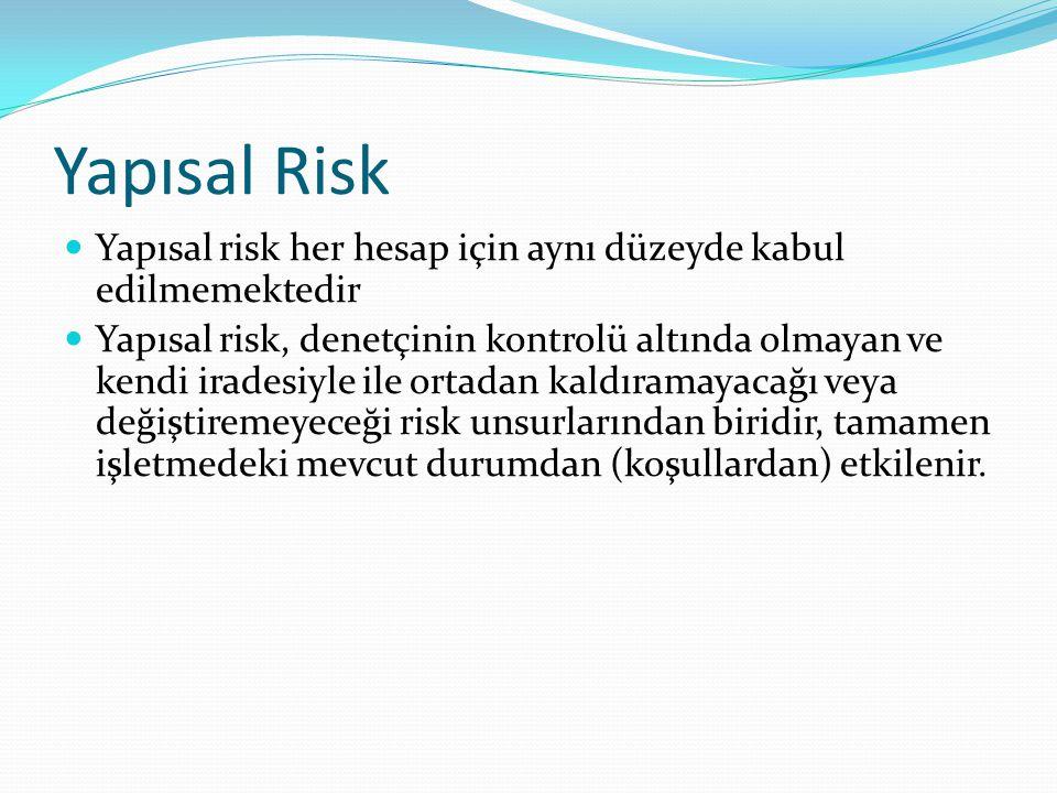 Yapısal Risk Yapısal risk her hesap için aynı düzeyde kabul edilmemektedir.