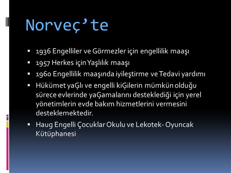 Norveç'te 1936 Engelliler ve Görmezler için engellilik maaşı