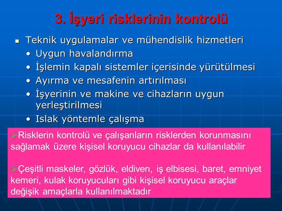 3. İşyeri risklerinin kontrolü