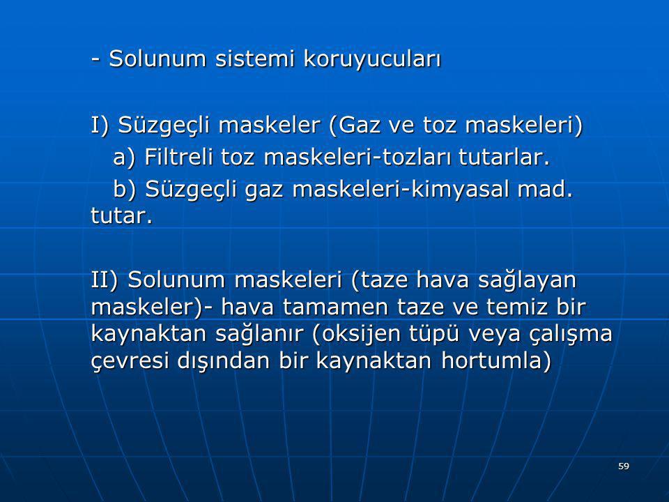 - Solunum sistemi koruyucuları