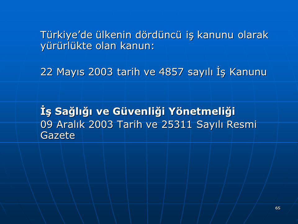 Türkiye'de ülkenin dördüncü iş kanunu olarak yürürlükte olan kanun: