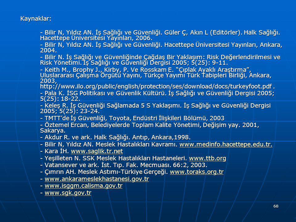 Kaynaklar: - Bilir N, Yıldız AN. İş Sağlığı ve Güvenliği. Güler Ç, Akın L (Editörler). Halk Sağlığı. Hacettepe Üniversitesi Yayınları, 2006.