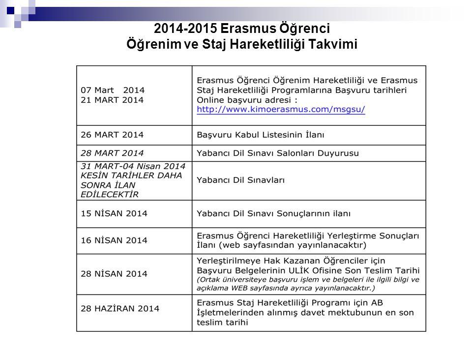 2014-2015 Erasmus Öğrenci Öğrenim ve Staj Hareketliliği Takvimi
