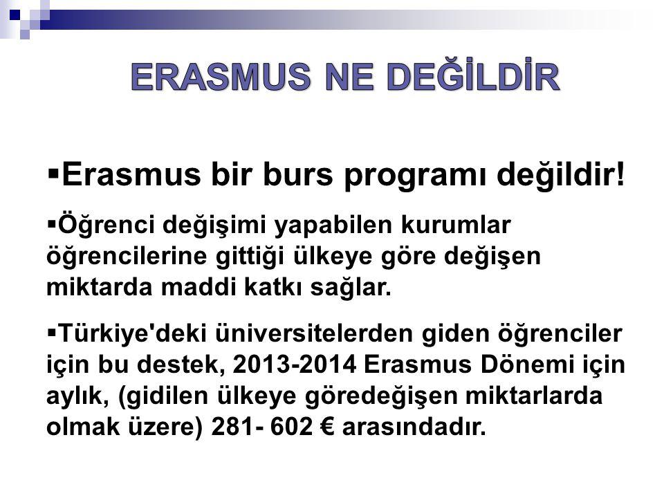 ERASMUS NE DEĞİLDİR Erasmus bir burs programı değildir!