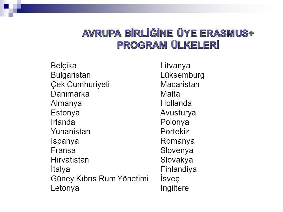 AVRUPA BİRLİĞİNE ÜYE ERASMUS+ PROGRAM ÜLKELERİ