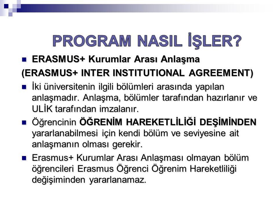 PROGRAM NASIL İŞLER ERASMUS+ Kurumlar Arası Anlaşma