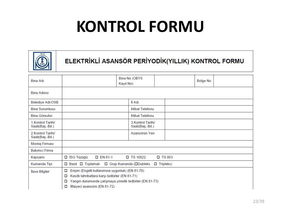 KONTROL FORMU