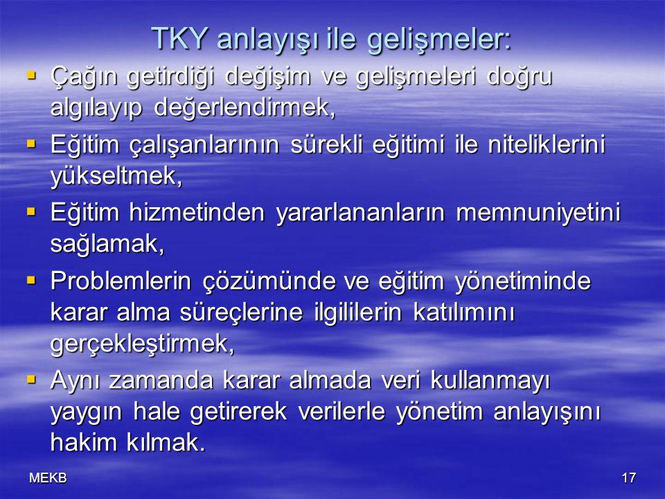 TKY anlayışı ile gelişmeler: