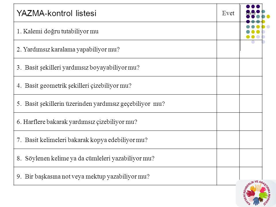 YAZMA-kontrol listesi