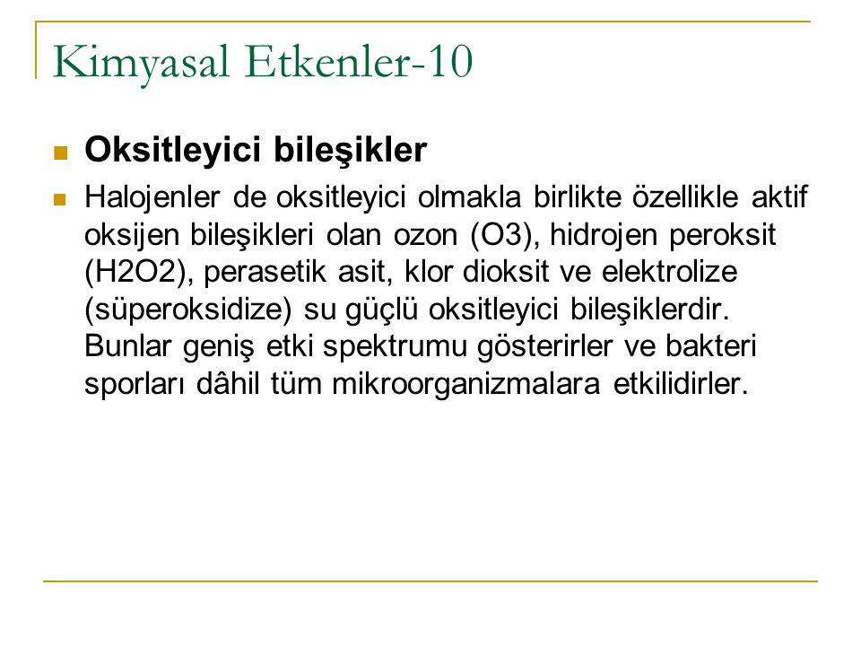 Kimyasal Etkenler-10 Oksitleyici bileşikler