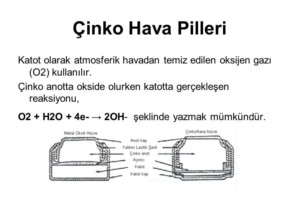 Çinko Hava Pilleri Katot olarak atmosferik havadan temiz edilen oksijen gazı (O2) kullanılır.