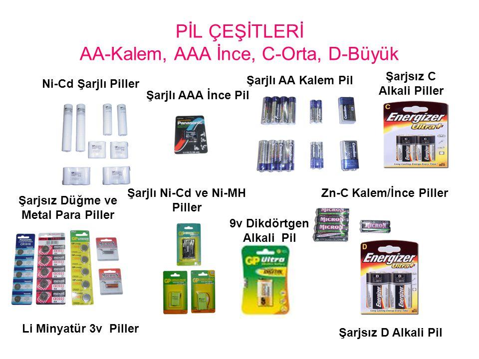 PİL ÇEŞİTLERİ AA-Kalem, AAA İnce, C-Orta, D-Büyük