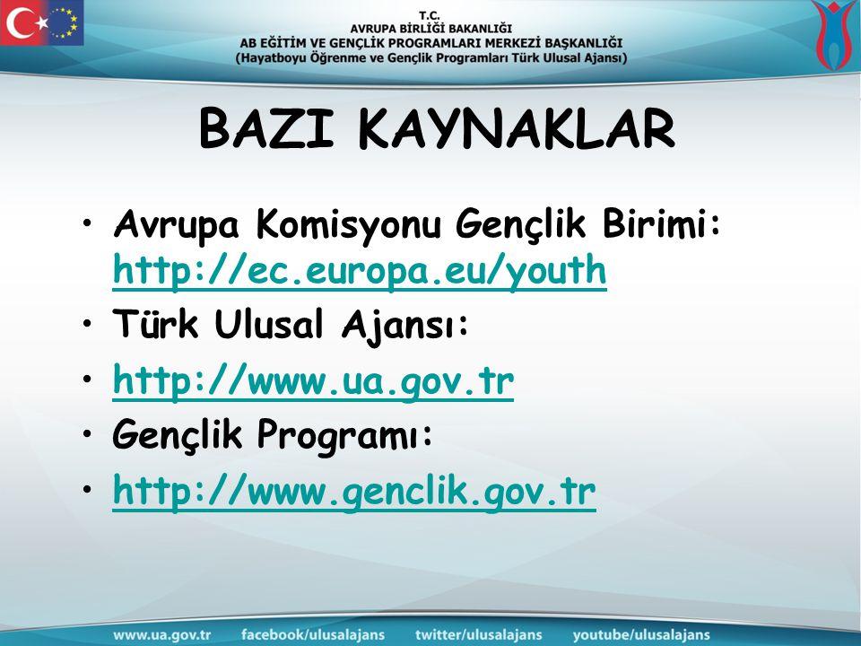 BAZI KAYNAKLAR Avrupa Komisyonu Gençlik Birimi: http://ec.europa.eu/youth. Türk Ulusal Ajansı: http://www.ua.gov.tr.