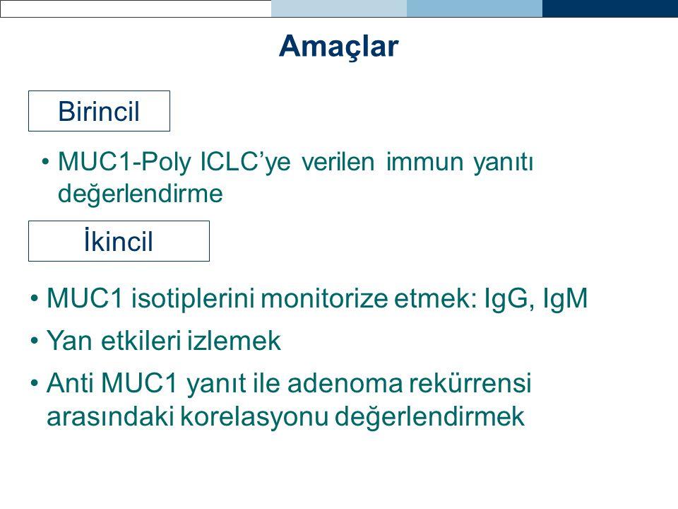 Amaçlar Birincil İkincil MUC1 isotiplerini monitorize etmek: IgG, IgM