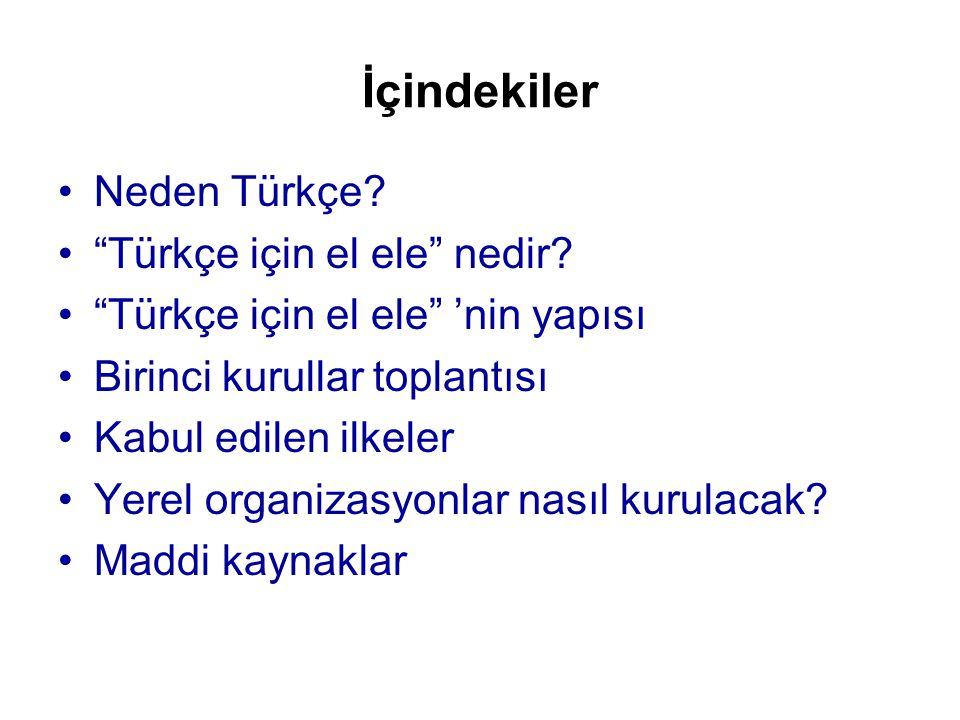 İçindekiler Neden Türkçe Türkçe için el ele nedir