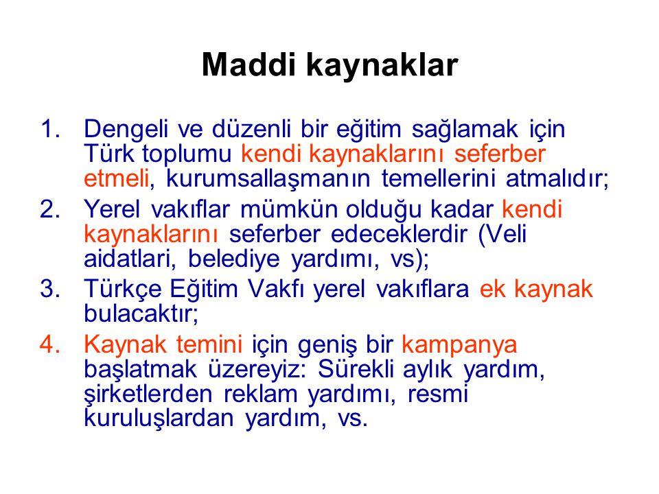 Maddi kaynaklar Dengeli ve düzenli bir eğitim sağlamak için Türk toplumu kendi kaynaklarını seferber etmeli, kurumsallaşmanın temellerini atmalıdır;