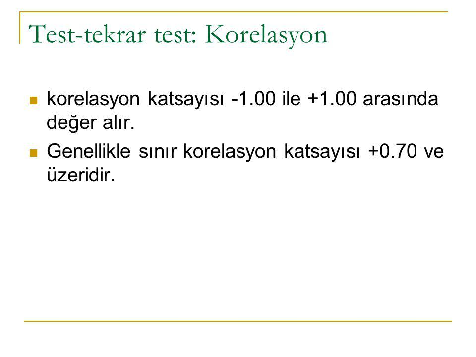 Test-tekrar test: Korelasyon