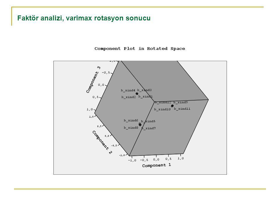 Faktör analizi, varimax rotasyon sonucu