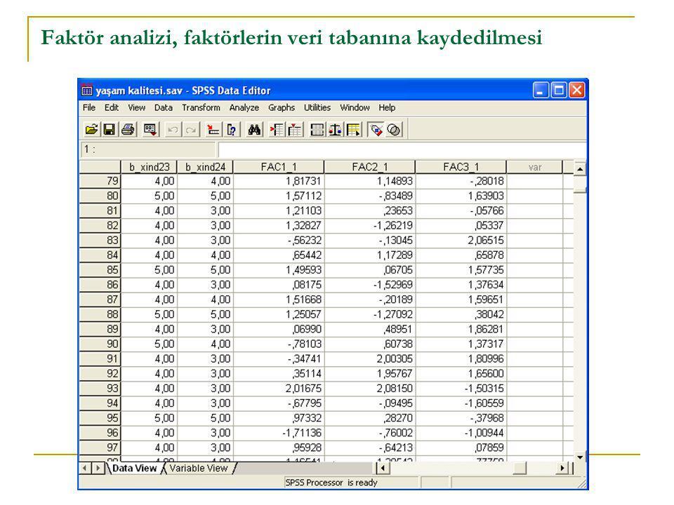 Faktör analizi, faktörlerin veri tabanına kaydedilmesi