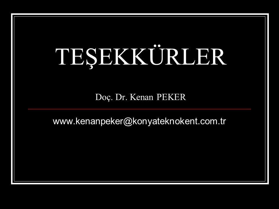 TEŞEKKÜRLER Doç. Dr. Kenan PEKER