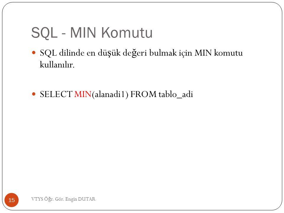 SQL - MIN Komutu SQL dilinde en düşük değeri bulmak için MIN komutu kullanılır. SELECT MIN(alanadi1) FROM tablo_adi.