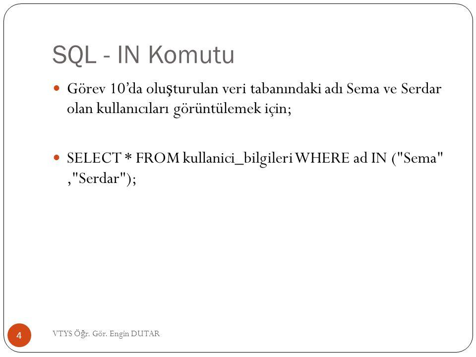 SQL - IN Komutu Görev 10'da oluşturulan veri tabanındaki adı Sema ve Serdar olan kullanıcıları görüntülemek için;