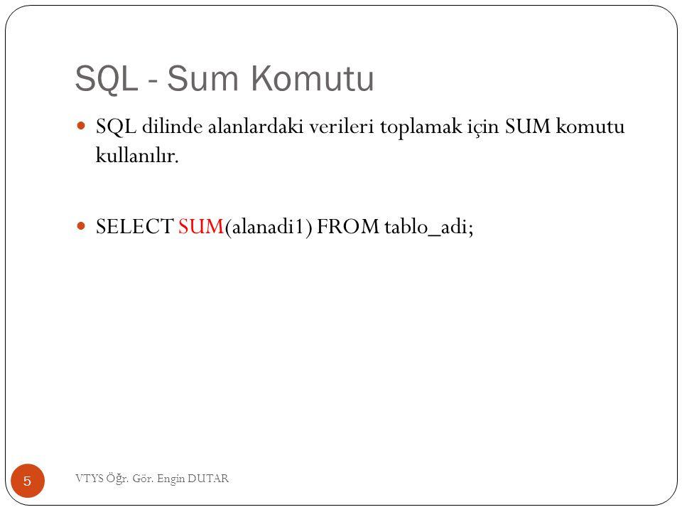 SQL - Sum Komutu SQL dilinde alanlardaki verileri toplamak için SUM komutu kullanılır. SELECT SUM(alanadi1) FROM tablo_adi;