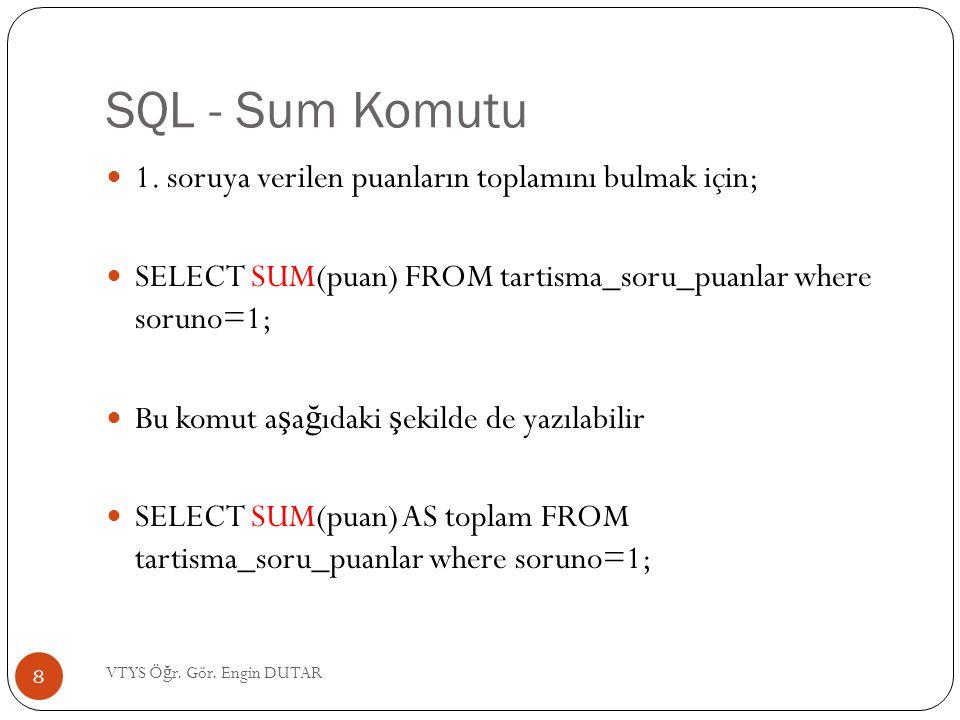 SQL - Sum Komutu 1. soruya verilen puanların toplamını bulmak için;