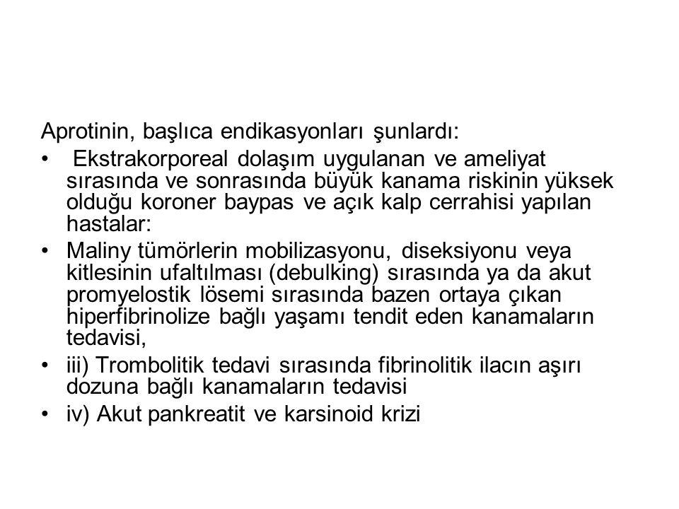 Aprotinin, başlıca endikasyonları şunlardı: