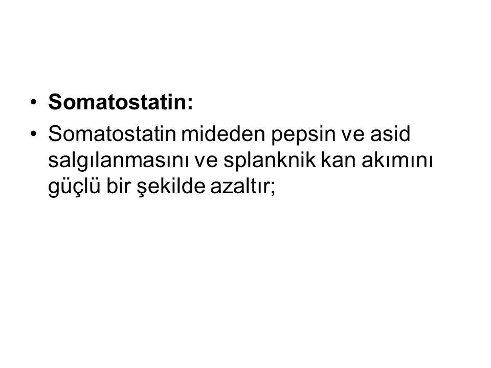 Somatostatin: Somatostatin mideden pepsin ve asid salgılanmasını ve splanknik kan akımını güçlü bir şekilde azaltır;