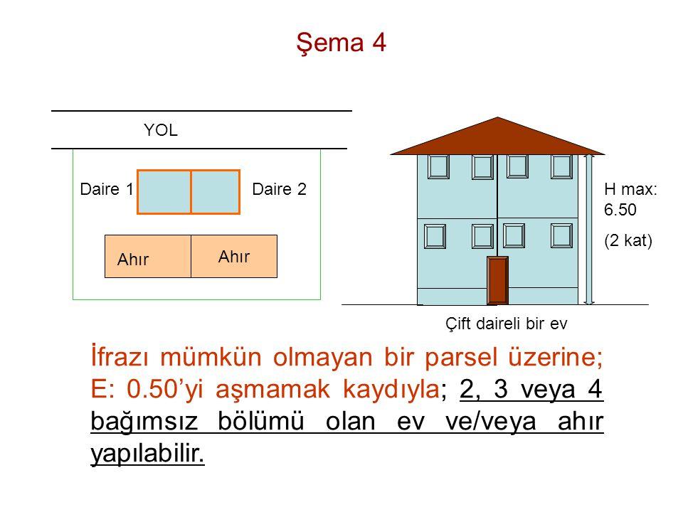 Şema 4 YOL. Daire 1. Daire 2. H max: 6.50. (2 kat) Ahır. Ahır. Çift daireli bir ev.