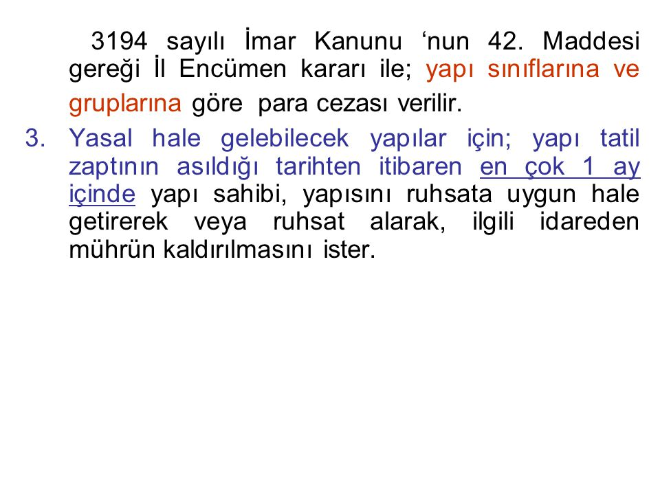 3194 sayılı İmar Kanunu 'nun 42