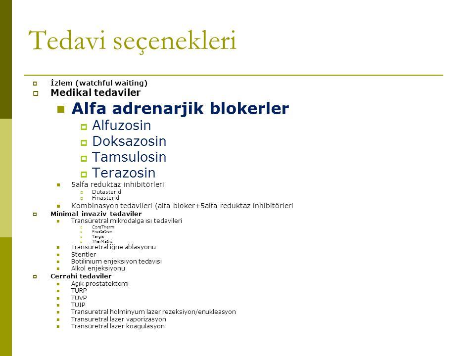 Tedavi seçenekleri Alfa adrenarjik blokerler Alfuzosin Doksazosin