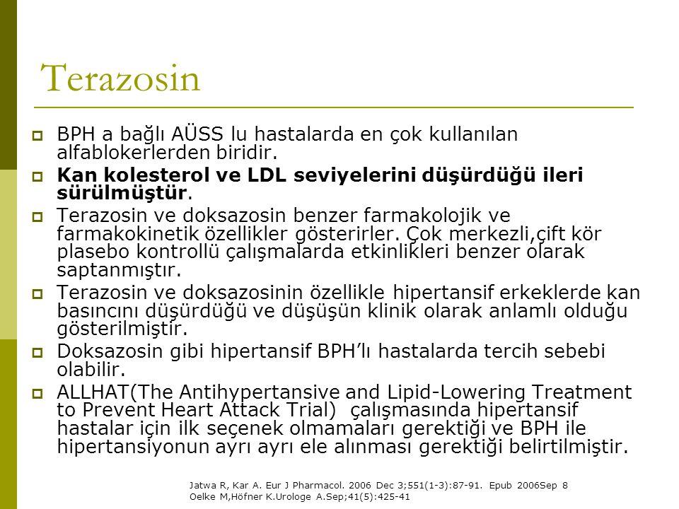 Terazosin BPH a bağlı AÜSS lu hastalarda en çok kullanılan alfablokerlerden biridir. Kan kolesterol ve LDL seviyelerini düşürdüğü ileri sürülmüştür.