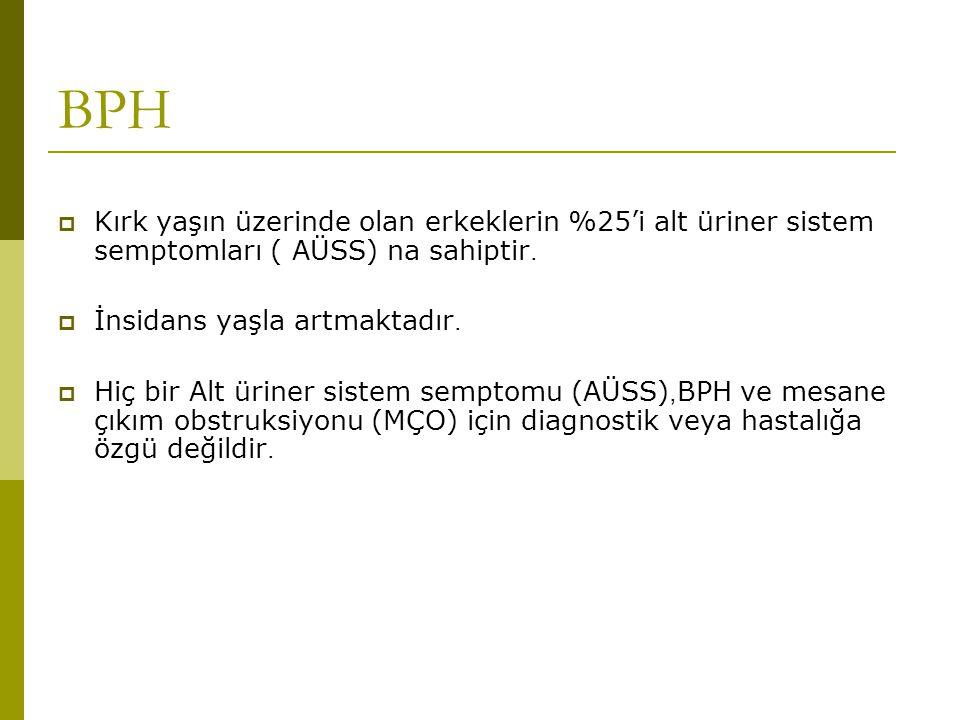 BPH Kırk yaşın üzerinde olan erkeklerin %25'i alt üriner sistem semptomları ( AÜSS) na sahiptir. İnsidans yaşla artmaktadır.