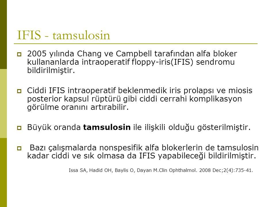 IFIS - tamsulosin 2005 yılında Chang ve Campbell tarafından alfa bloker kullananlarda intraoperatif floppy-iris(IFIS) sendromu bildirilmiştir.