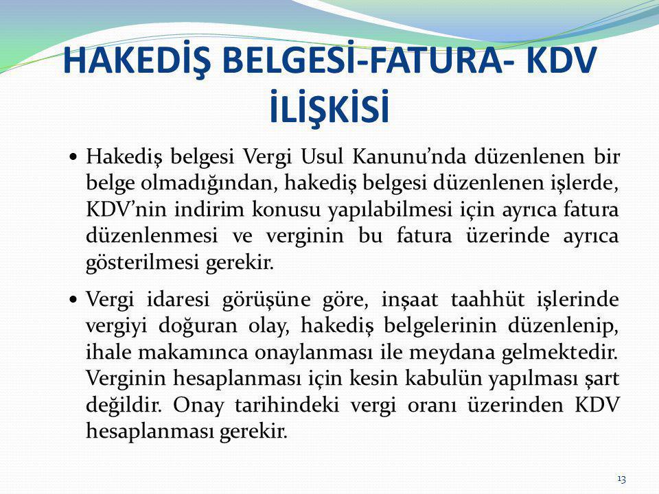 HAKEDİŞ BELGESİ-FATURA- KDV İLİŞKİSİ