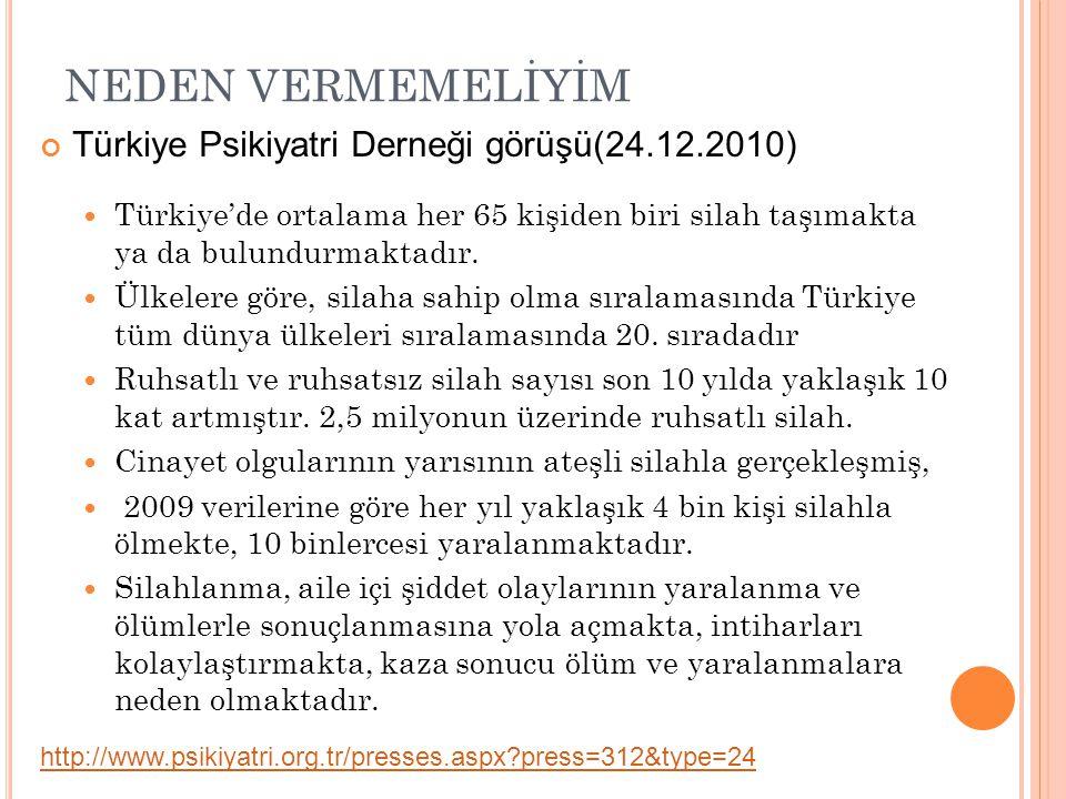 NEDEN VERMEMELİYİM Türkiye Psikiyatri Derneği görüşü(24.12.2010)