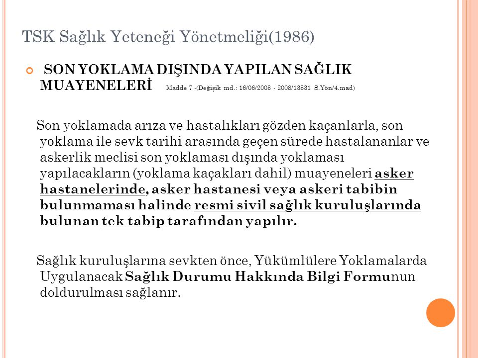 TSK Sağlık Yeteneği Yönetmeliği(1986)