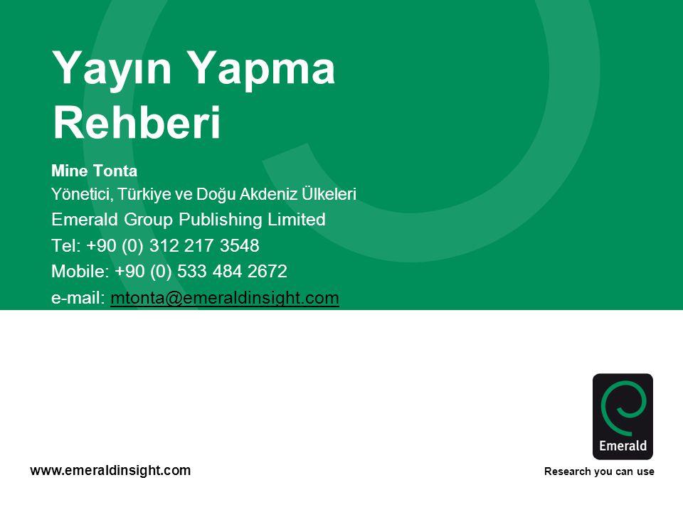 Yayın Yapma Rehberi Emerald Group Publishing Limited
