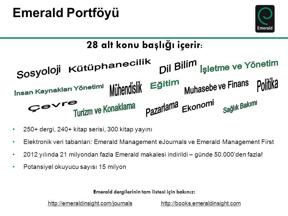 Emerald dergilerinin tam listesi için bakınız:
