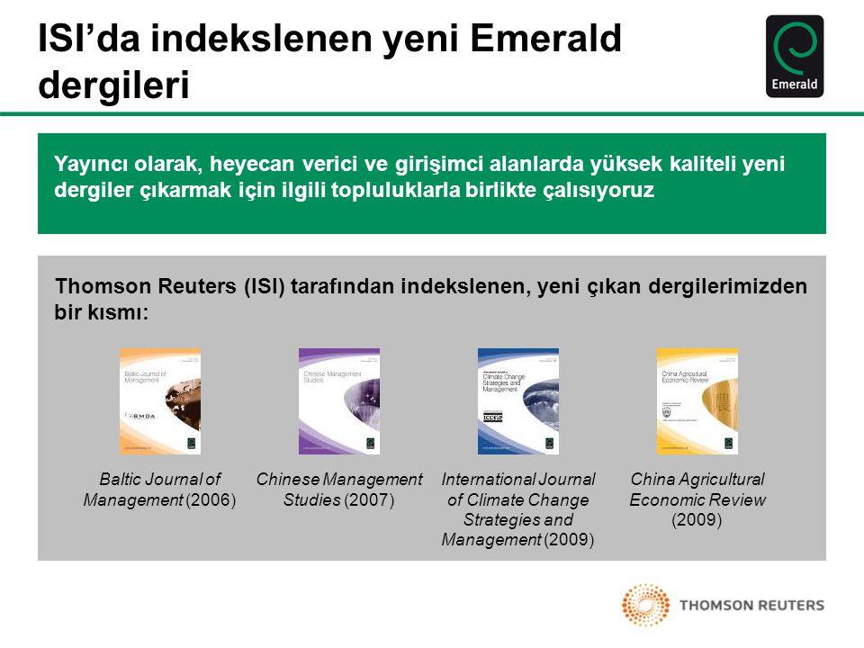 ISI'da indekslenen yeni Emerald dergileri