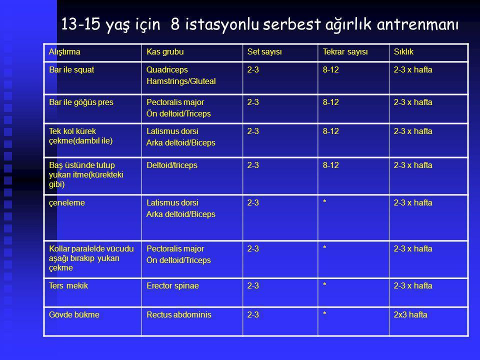 13-15 yaş için 8 istasyonlu serbest ağırlık antrenmanı