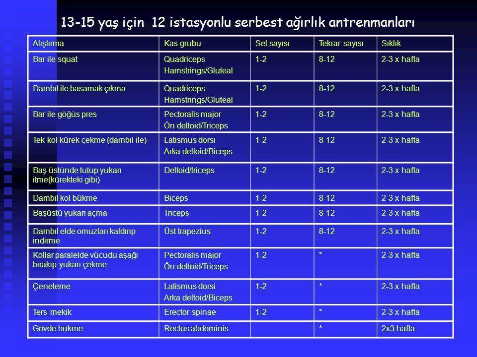 13-15 yaş için 12 istasyonlu serbest ağırlık antrenmanları