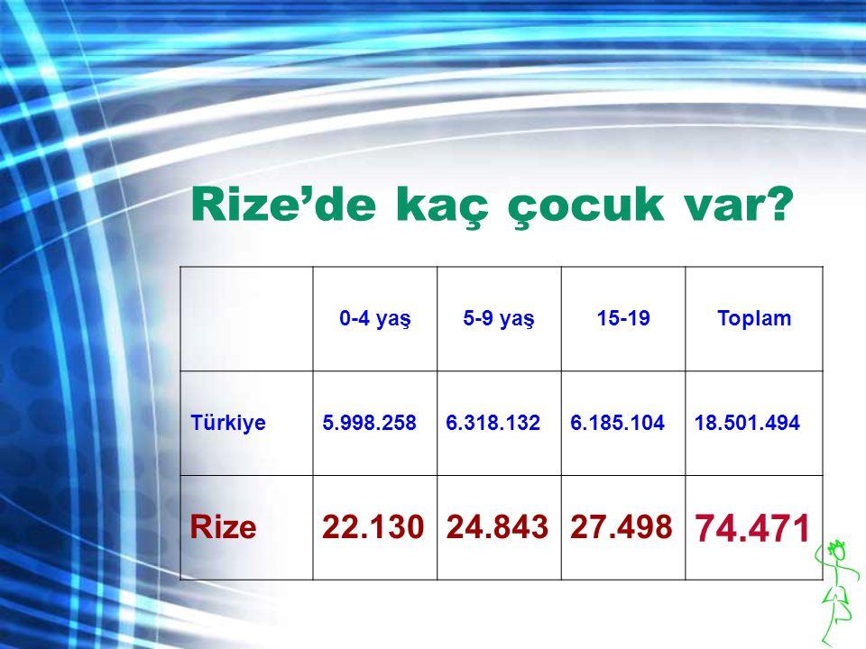 Rize'de kaç çocuk var 74.471 Rize 22.130 24.843 27.498 0-4 yaş
