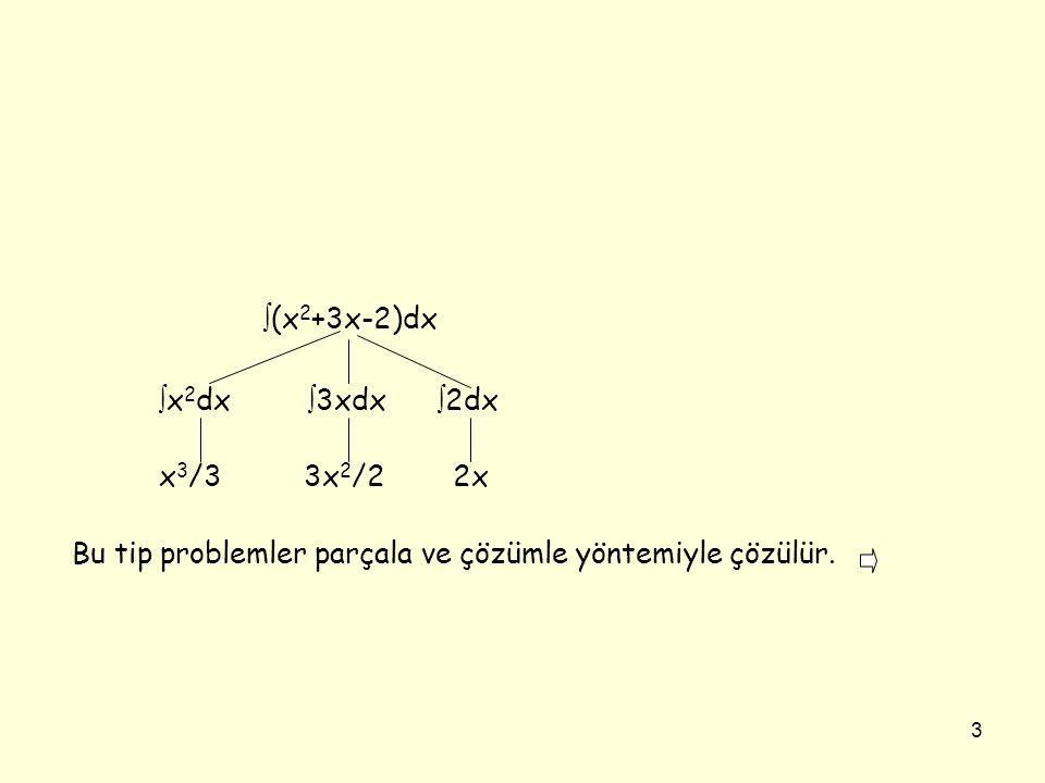 (x2+3x-2)dx x2dx 3xdx 2dx. x3/3 3x2/2 2x.